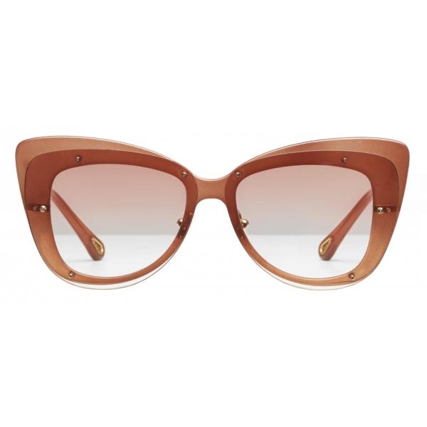Chloé - Cat-Eye Dree Sunglasses in Nylon and Metal - Gold Terracotta - Chloé Eyewear