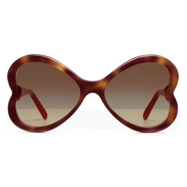 Chloé - Bonnie Heart Shaped Sunglasses in Acetate - Havana Brown - Chloé Eyewear