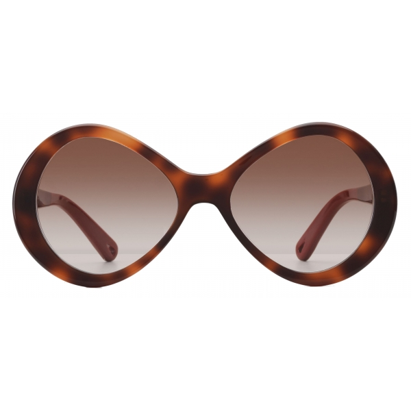 Chloé - Bonnie Infinity-Shaped Sunglasses in Acetate - Havana Brown - Chloé Eyewear