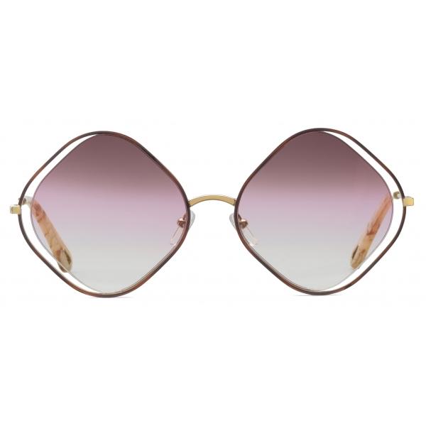 Chloé - Occhiali da Sole a Forma di Rombo Poppy in Metallo - Havana Oro Rosa - Chloé Eyewear
