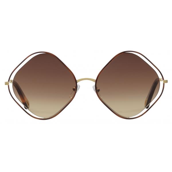 Chloé - Poppy Rhombus Sunglasses in Metal - Havana Gold Brown - Chloé Eyewear