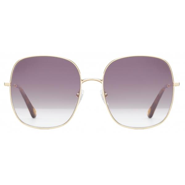 Chloé - Eliz Square Metal Sunglasses - Gold Violet - Chloé Eyewear