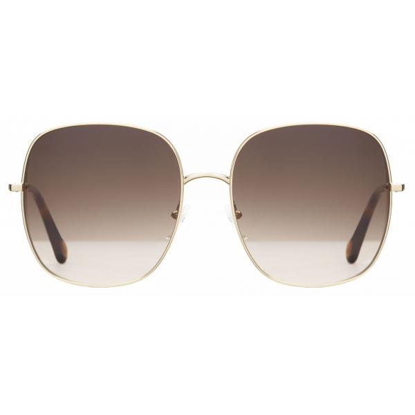 Chloé - Eliz Square Metal Sunglasses - Gold Brown Rose - Chloé Eyewear