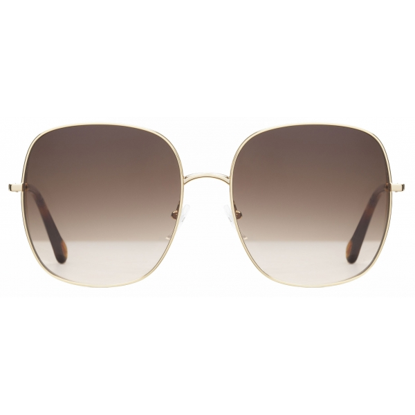 Chloé - Occhiali da Sole Squadrati Eliz in Metallo - Oro Marrone Rosa - Chloé Eyewear