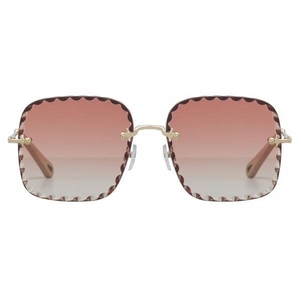 Chloé - Occhiali da Sole Squadrati Rosie in Metallo - Oro Coral - Chloé Eyewear