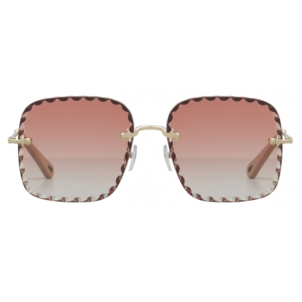Chloé - Square Rosie Sunglasses in Metal - Gold Coral - Chloé Eyewear