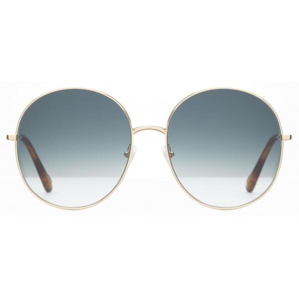 Chloé - Eliz Round Sunglasses in Metal - Gold Petrol - Chloé Eyewear