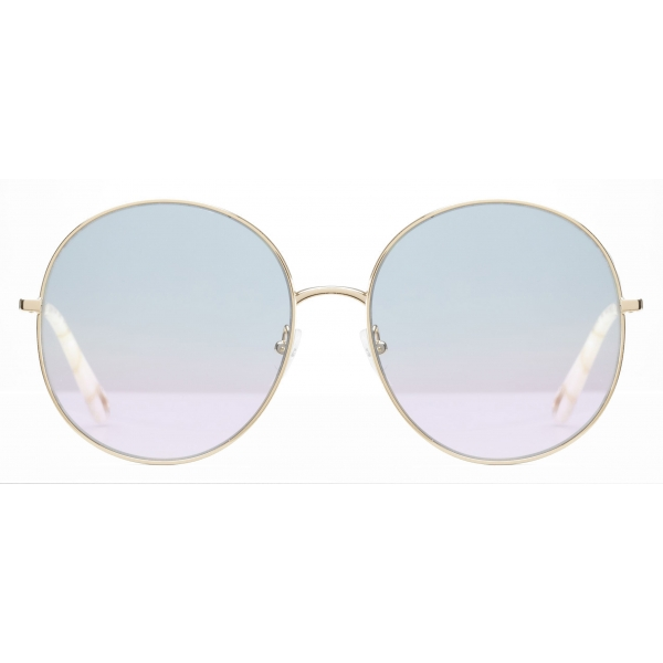 Chloé - Eliz Round Metal Sunglasses - Gold Azure Lilac - Chloé Eyewear
