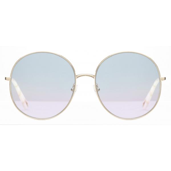 Chloé - Occhiali da Sole Rotondi Eliz in Metallo - Oro Azure Lilac - Chloé Eyewear