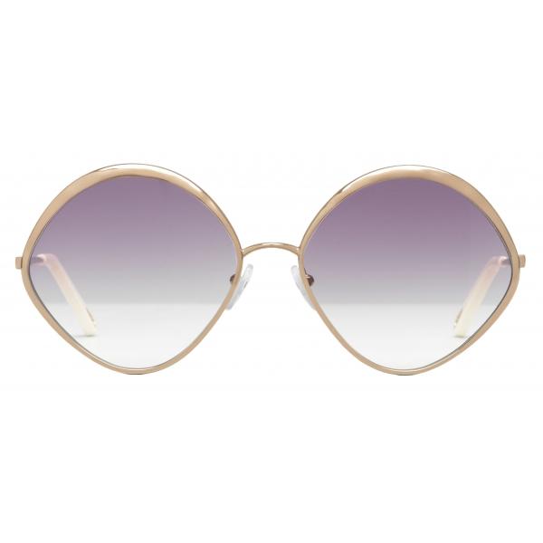 Chloé - Dani Diamond-Shaped Sunglasses in Metal - Peach Purple - Chloé Eyewear