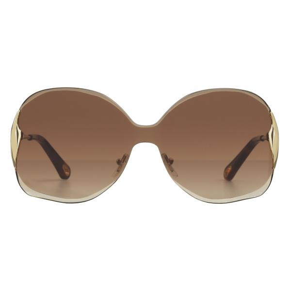 Chloé - Curtis Squared Metal Sunglasses - Gold Brown - Chloé Eyewear