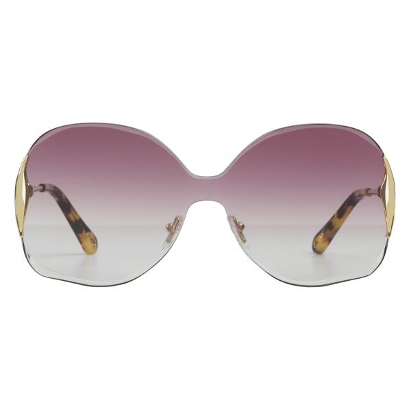 Chloé - Curtis Squared Metal Sunglasses - Gold Purple - Chloé Eyewear