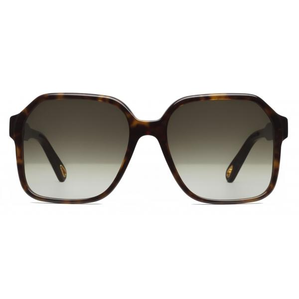 Chloé - Occhiali da Sole Squadrati Willow in Bio-Acetato - Havana Scuro Cachi - Chloé Eyewear