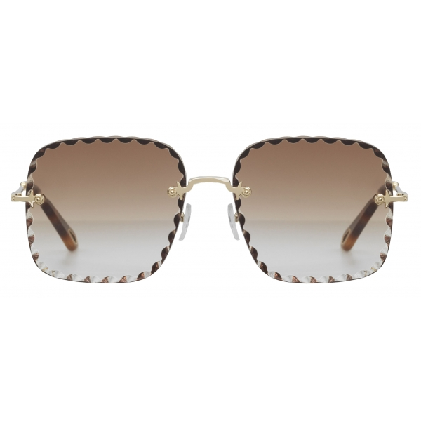 Chloé - Occhiali da Sole Squadrati Rosie in Metallo - Oro Marrone - Chloé Eyewear