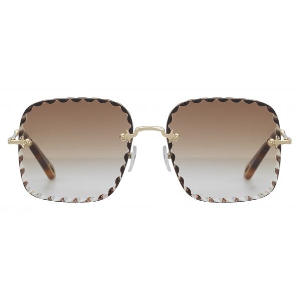 Chloé - Willow Square Sunglasses in Bio-Acetate - Dark Havana Khaki - Chloé Eyewear