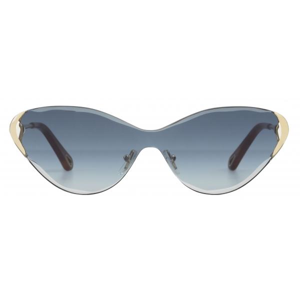 Chloé - Cat-Eye Curtis Sunglasses in Metal - Gold Blue - Chloé Eyewear