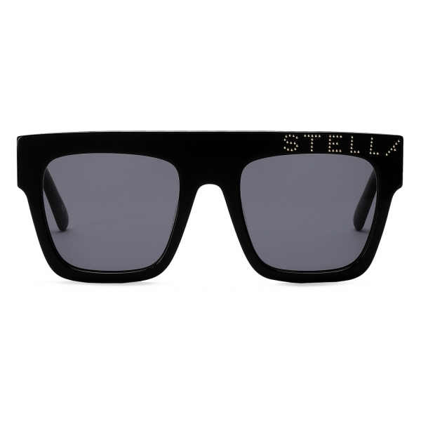 Stella McCartney - Occhiali da Sole Cat-Eye Neri Lucidi con Logo - Nero Oro - Occhiali da Sole - Stella McCartney Eyewear