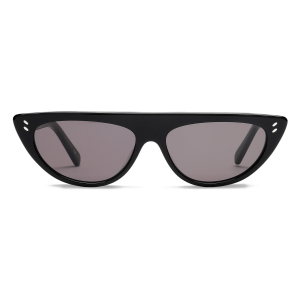 Stella McCartney - Glossy Black Round Sunglasses - Black - Sunglasses - Stella McCartney Eyewear