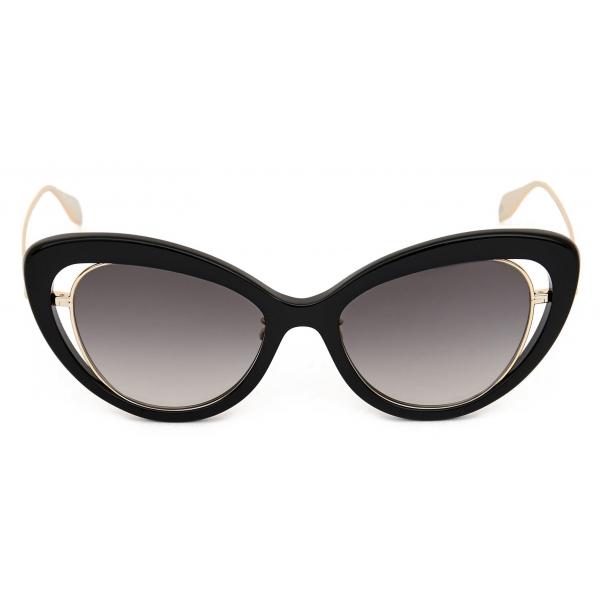 Alexander McQueen - Occhiale da Sole Open Wire Cat-Eye - Nero - Alexander McQueen Eyewear