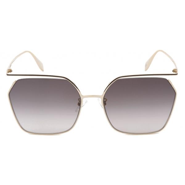 Alexander McQueen - The Cut Square Sunglasses - Light Gold Grey - Alexander McQueen Eyewear