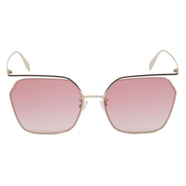 Alexander McQueen - Occhiale da Sole The Cut Quadrati - Oro Chiaro Rosso - Alexander McQueen Eyewear