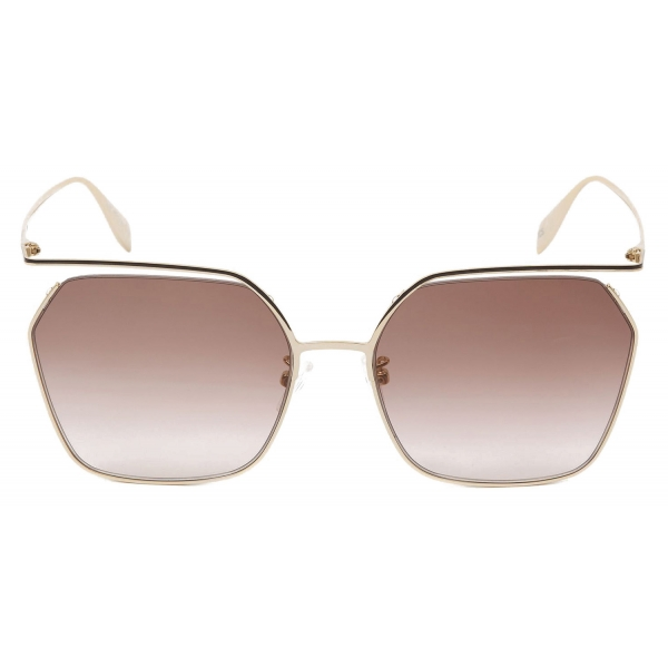 Alexander McQueen - Occhiale da Sole The Cut Quadrati - Oro Chiaro Marrone - Alexander McQueen Eyewear