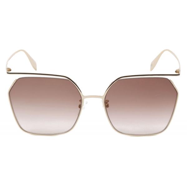 Alexander McQueen - The Cut Square Sunglasses - Light Gold Brown - Alexander McQueen Eyewear