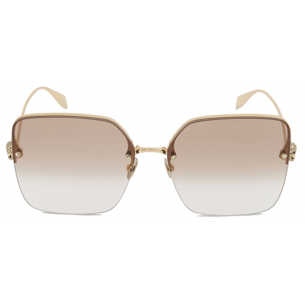 Alexander McQueen - Skull Jeweled Square Sunglasses - Gold Brown - Alexander McQueen Eyewear