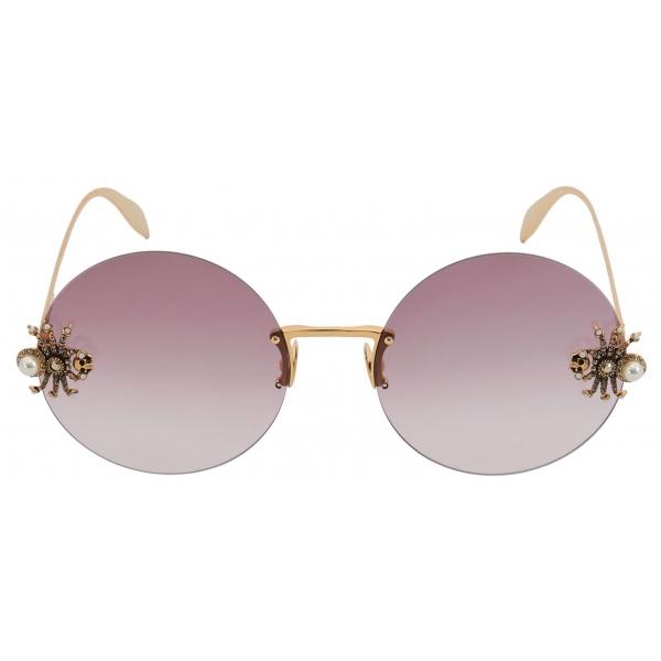 Alexander McQueen - Spider Jeweled Round Sunglasses - Gold Violet - Alexander McQueen Eyewear