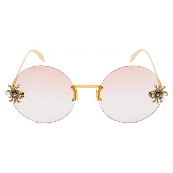 Alexander McQueen - Occhiale da Sole Spider Jeweled Rotondi - Oro Rosa - Alexander McQueen Eyewear