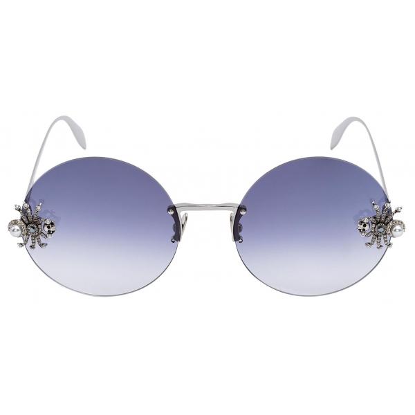 Alexander McQueen - Occhiale da Sole Spider Jeweled Rotondi - Argento Grigio - Alexander McQueen Eyewear