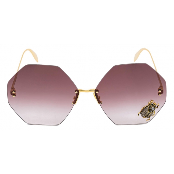 Alexander McQueen - Beetle Jeweled Sunglasses - Gold Brown - Alexander McQueen Eyewear