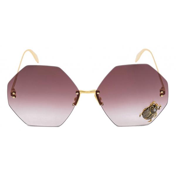 Alexander McQueen - Occhiale da Sole Beetle Jeweled - Oro Marrone - Alexander McQueen Eyewear