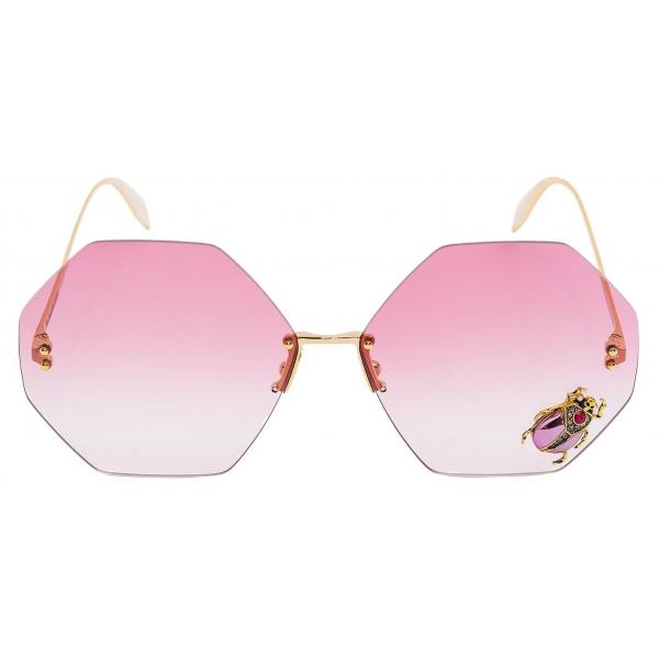 Alexander McQueen - Beetle Jeweled Hexagonal Sunglasses - Gold Red - Alexander McQueen Eyewear
