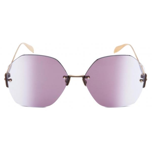 Alexander McQueen - Hexagonal Jewel Sunglasses - Gold Violet - Alexander McQueen Eyewear