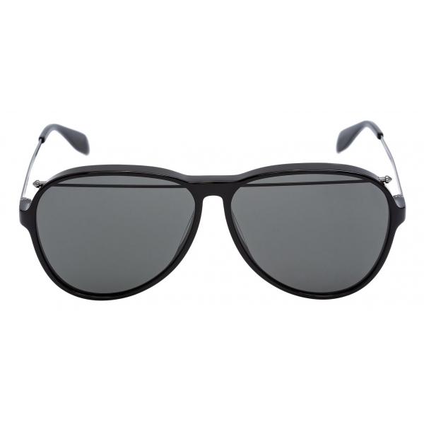 Alexander McQueen - Occhiale da Sole Open Wire Rotondi - Nero - Alexander McQueen Eyewear