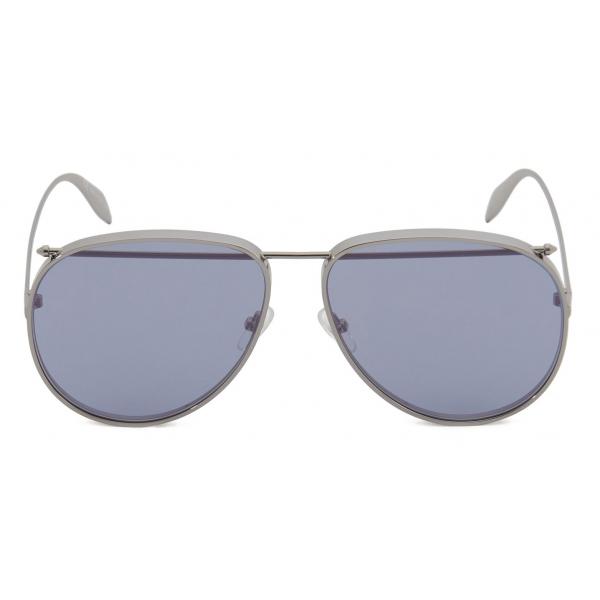Alexander McQueen - Metal Aviator Piercing Sunglasses - Silver Violet - Alexander McQueen Eyewear