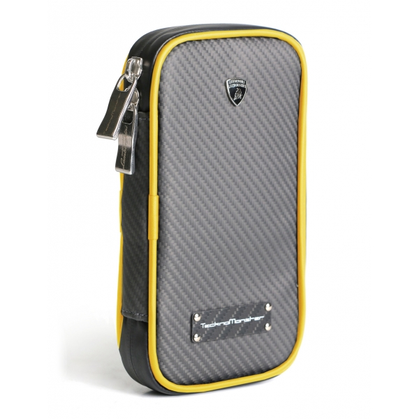Lamborghini - TecknoMonster - Lamborghini Smartphone Holder in Aeronautical Carbon Fibre - Yellow - Black Carpet Collection