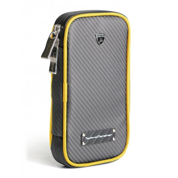 Lamborghini - TecknoMonster - Lamborghini Smartphone Holder in Aeronautical Carbon Fibre - Yellow - Black Carpet Collection