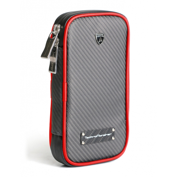 Lamborghini - TecknoMonster - Lamborghini Smartphone Holder in Aeronautical Carbon Fibre - Red - Black Carpet Collection