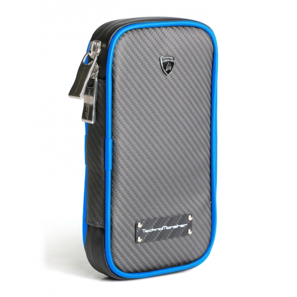 Lamborghini - TecknoMonster - Cover per Smartphone in Fibra di Carbonio Aeronautico - Blu - Black Carpet Collection