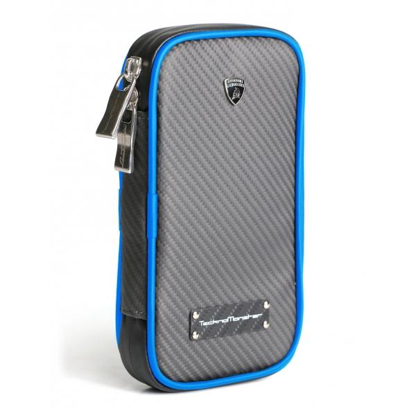 Lamborghini - TecknoMonster - Lamborghini Smartphone Holder in Aeronautical Carbon Fibre - Blue - Black Carpet Collection