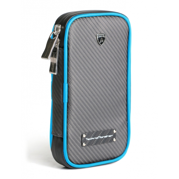 Lamborghini - TecknoMonster - Lamborghini Smartphone Holder in Aeronautical Carbon Fibre - Light Blue - Black Carpet Collection