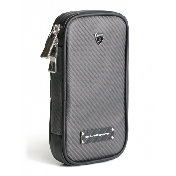 Lamborghini - TecknoMonster - Cover per Smartphone in Fibra di Carbonio Aeronautico - Nera - Black Carpet Collection