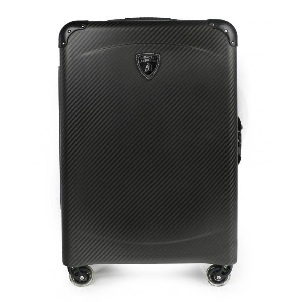 TecknoMonster - Automobili Lamborghini - Trolley - Valigia Fastroad con Ruote in Titanio e Alcantara® - Black Carpet Collection