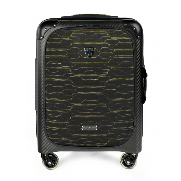 TecknoMonster - Automobili Lamborghini - Trolley - Valigia Fastrack con Ruote in Titanio e Alcantara® - Black Carpet Collection