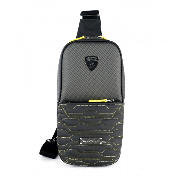 TecknoMonster - Automobili Lamborghini - Attak Crossbody Bag in Carbon Fiber and Alcantara® - Black Carpet Collection