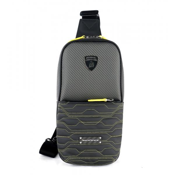 TecknoMonster - Automobili Lamborghini - Borsa a Tracolla Attak in Fibra di Carbonio e Alcantara® - Black Carpet Collection