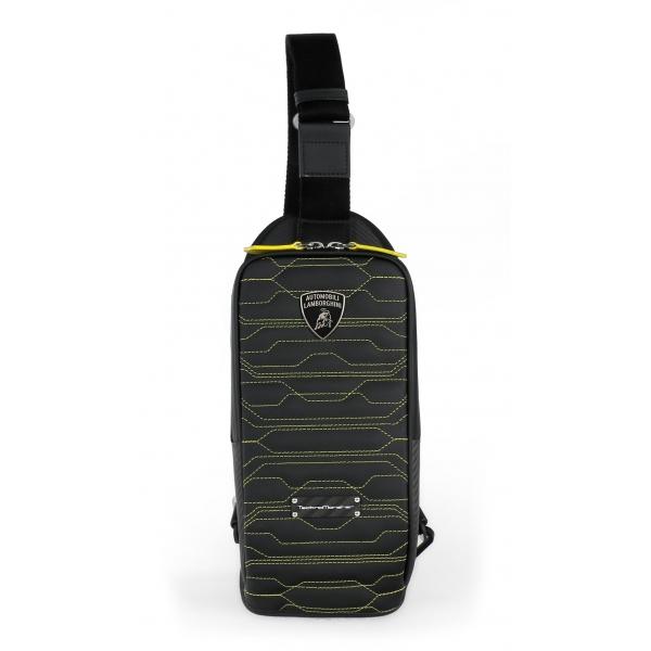 TecknoMonster - Automobili Lamborghini - Borsa a Tracolla Task in Fibra di Carbonio e Alcantara® - Black Carpet Collection