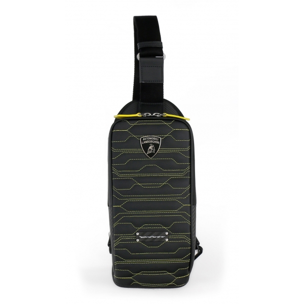 TecknoMonster - Automobili Lamborghini - Task Crossbody Bag in Carbon Fiber and Alcantara® - Black Carpet Collection